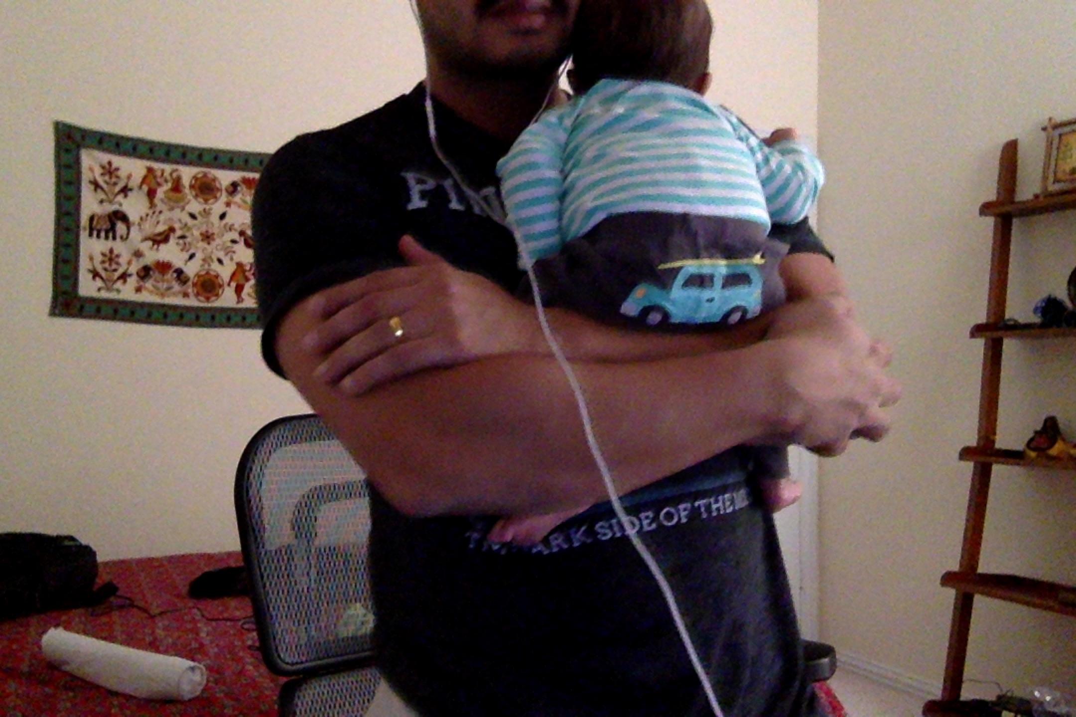 Me and Kiddo on a work call
